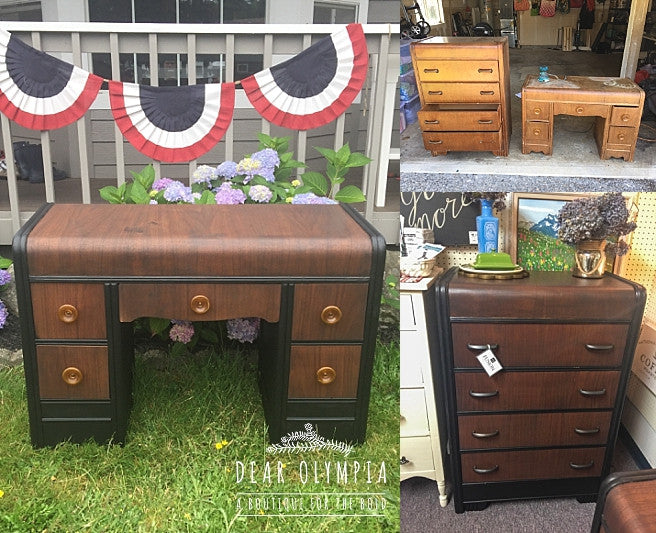 Refinished Antique Waterfall Dresser- Fusion Mineral Paint Coal