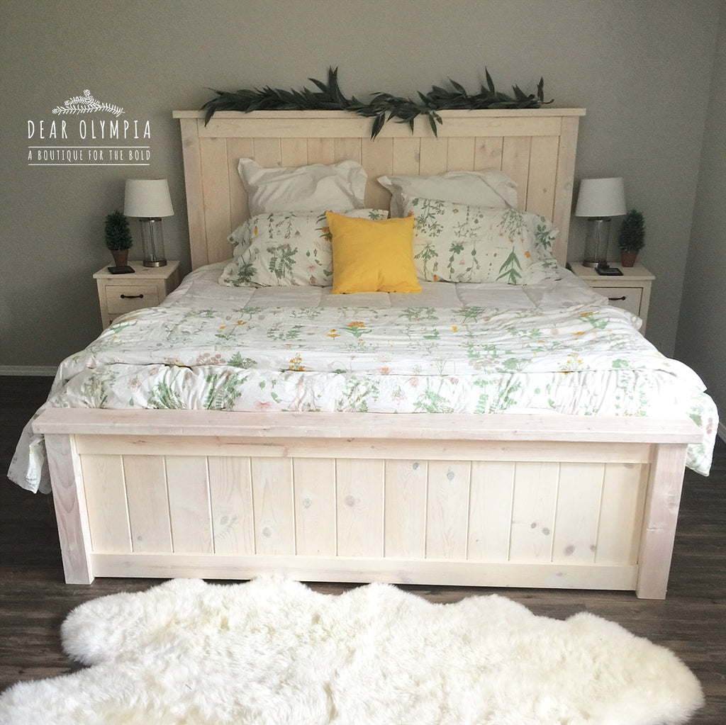 Ana White Farmhouse Bed Stained White Wood Stained Bedroom ...