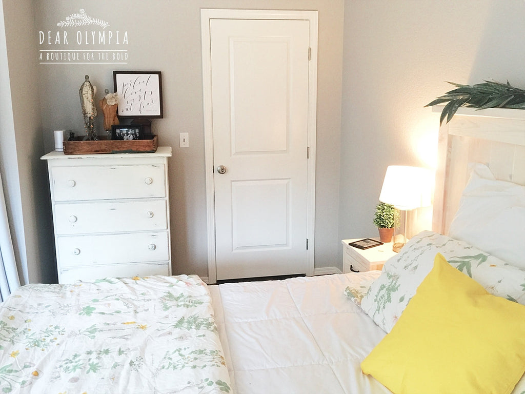 farmhouse bedroom furniture. I usually avoid anything with a yellow tone but m loving Limestone for  that farmhouse Ana White Farmhouse Bed Stained Wood Bedroom