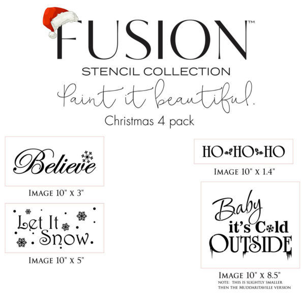 Christmas Holiday Stencil 4 Pack - Fusion Mineral Paint - Where to Buy Online - Dear Olympia - Flate Rate US Shipping