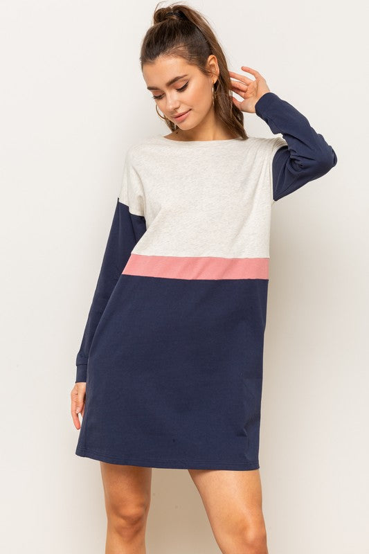 Color Block Long Sleeve Shweatshirt Dress