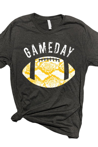 Bleacher Babe Football Snakeskin Tee Yellow Gold
