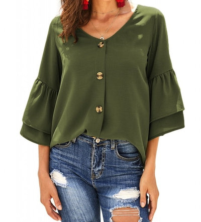 Bell Sleeves Button Down