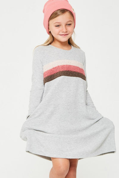 Kids Poodle Knit Color Block Brush Knit Dress