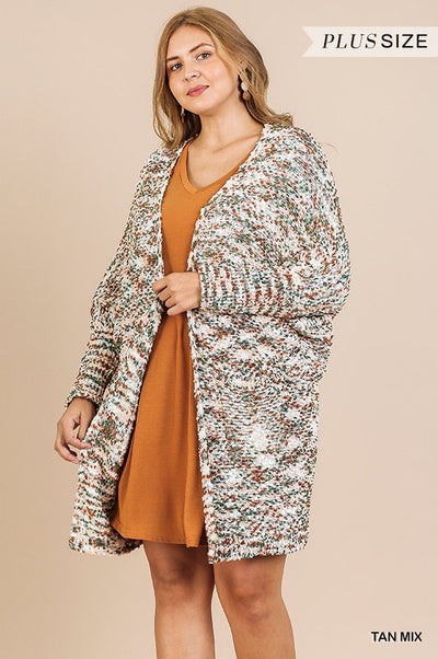 Multicolor Knit Open Front Cardigan