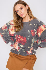 Round Neck Floral Smocking Detail Top