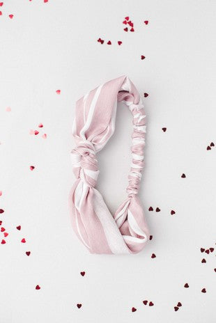 Knotted Pink and White Headband