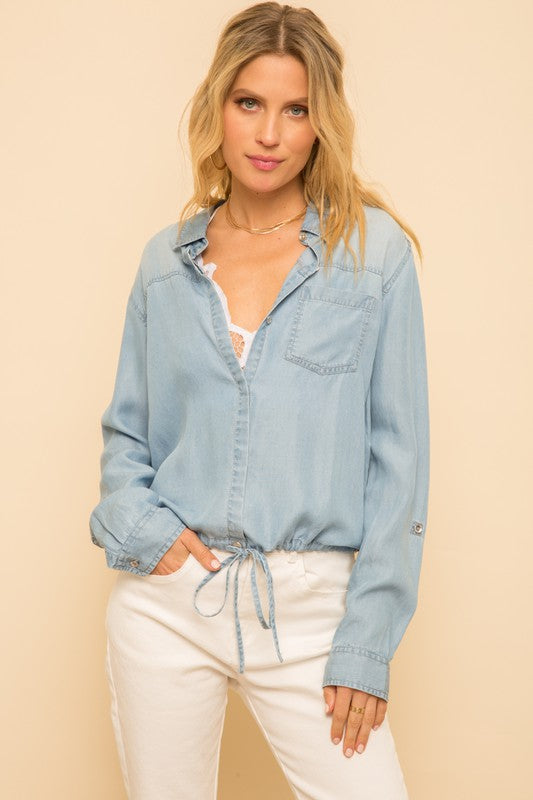 Draw String Denim Top