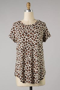Leopard Print Short Sleeve Blouse