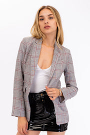 Red/Gray Plaid Blazer
