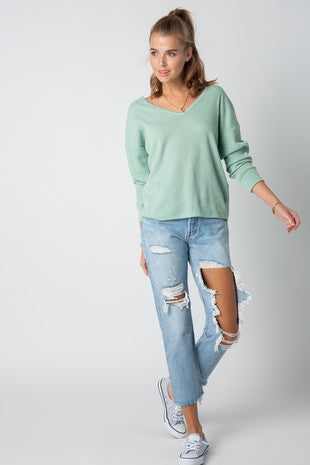 Ribbed Long Sleeve Top with twisted Back