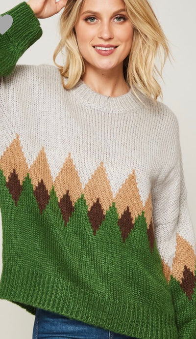 Multicolor Diamond Pattern Sweater