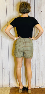 Plaid Belted Shorts