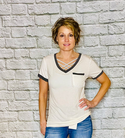 V-Neck Ivory Tee with pocket Detail