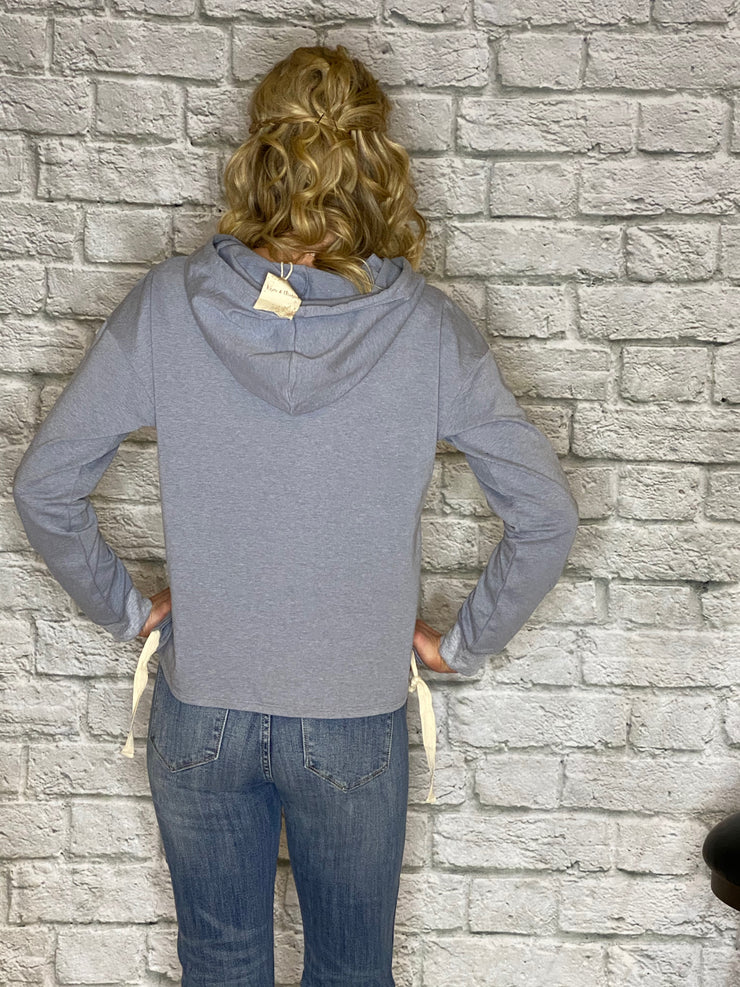 RUCHED BOTTOM HOODIE TOP