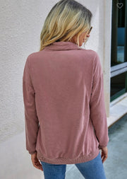 Zip Up Solid Loose Sweater