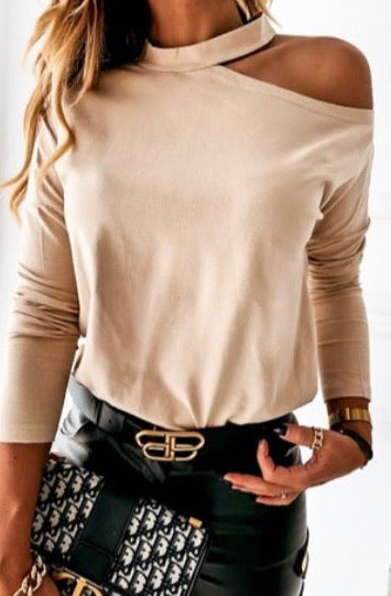 Long Sleeve Open Neck