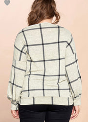 Square Printed Loose Fit Sweater