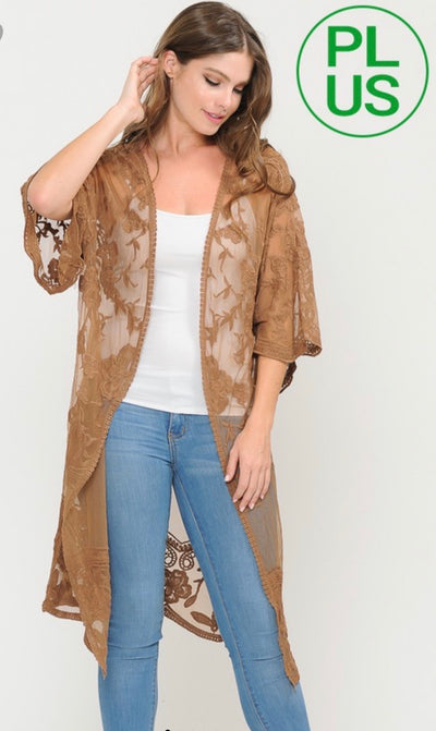 Sheer Lace Open Duster Cardigan