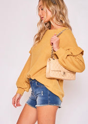 Mustard Sweater with Ruffle Sleeves