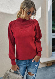 Mockneck Solid Long Sleeve Sweater