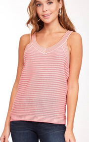 Punch Coral Stripe Knit Sweater Tank