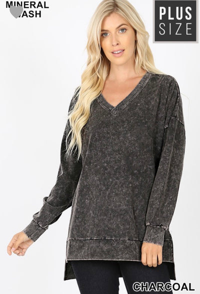 PLUS Oversize Pullover Mineral wash Sweater