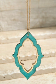 Wooden Marquee Necklace and Earing