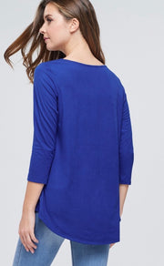 Long Sleeve Solid Knit Top w/ Criss Cross V-Neck