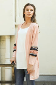 Light Pink Cardigan with Sleeve Detail