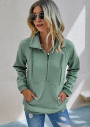 Zip Up Solid Loose Hoodie