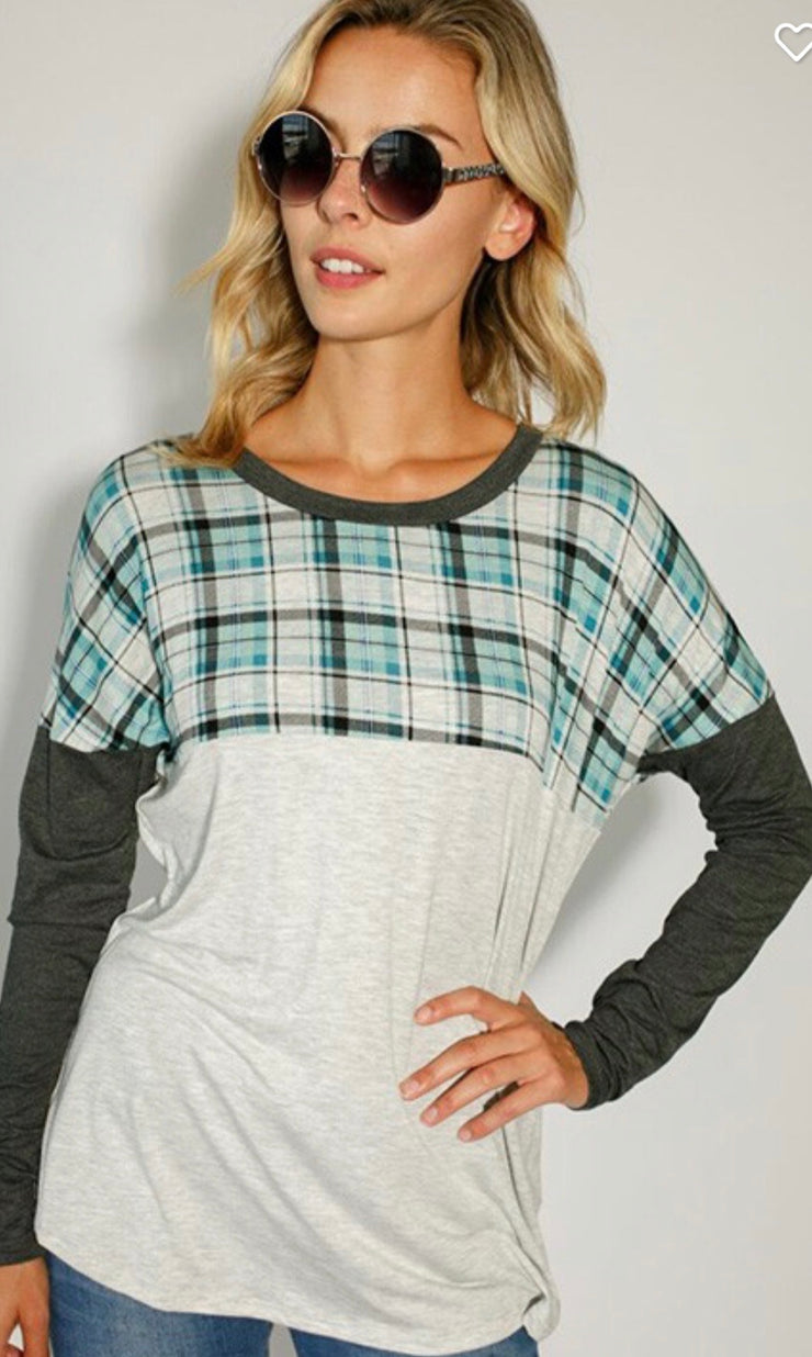 Plaid Long Sleeve Top