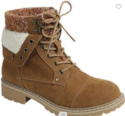 Fleece Cuffed Lace Up Boots