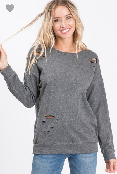 Long Sleeve Destroyed Tunic Top