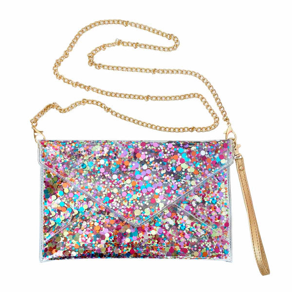 CONVERTIBLE CONFETTI ENVELOPE CLUTCH