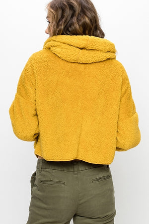 Yellow Faux Fur Hoodie Jacket--01031