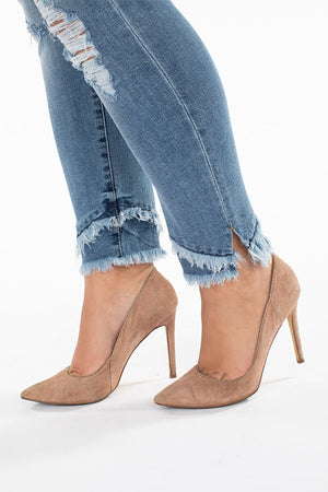 Fringe Ankle Skinny Light Denim