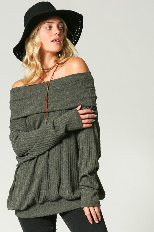 Olive Ribbed Knit Pullover