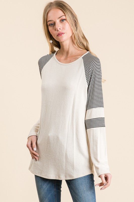 Oatmeal Brushed Cashmere top