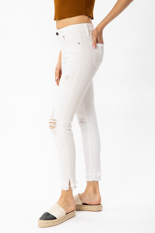 Mid Rise White Denim Skinny