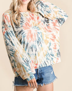 Orange/Teal Tie Dye Pullover