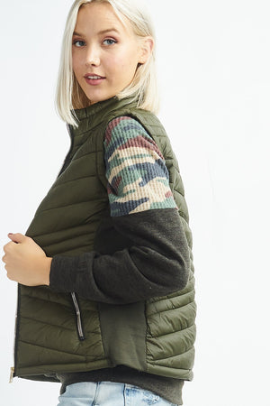 Olive Solid Puffer Vest