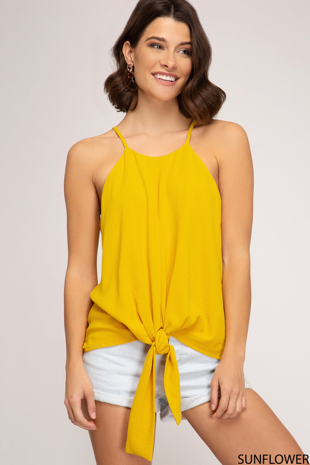 Yellow Cami Front Tie Detail