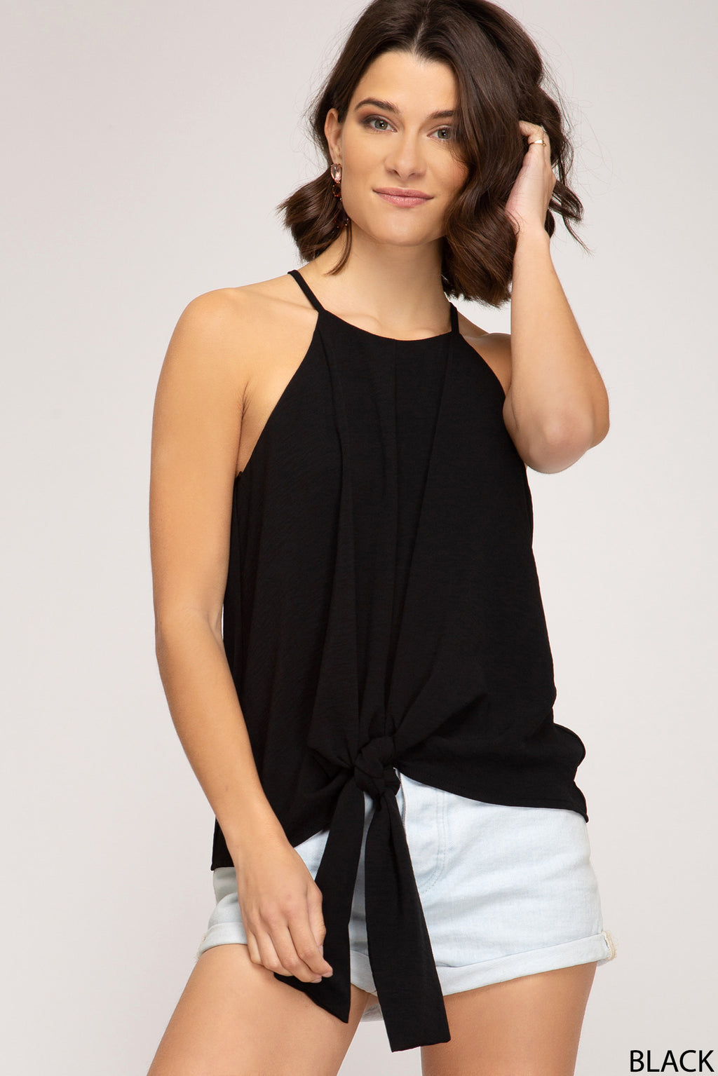 Black Cami with Front Tie Detail