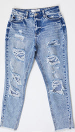 "High Rise ""Mom Jean"" with Fray Hem"