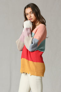 Color Block Distressed V-neck Sweater