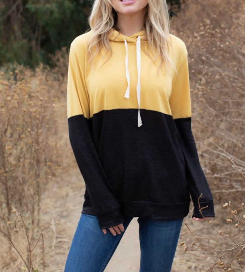 Yellow/Black Color block Hoodie