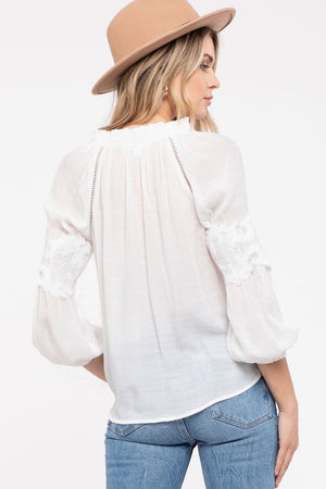 White Sheer top with Lace Detail