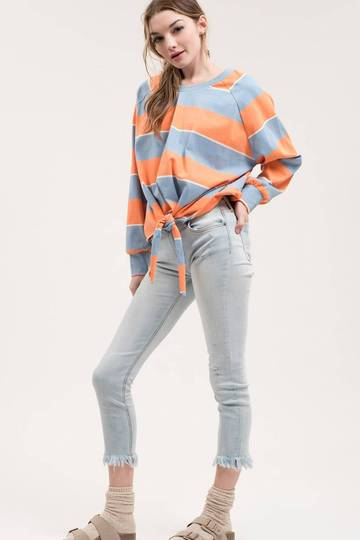 Sky Multi Striped Front-Tie Top