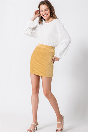Curry Fitted Mini Skirt